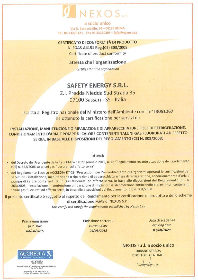 Nexos certificato safety energy