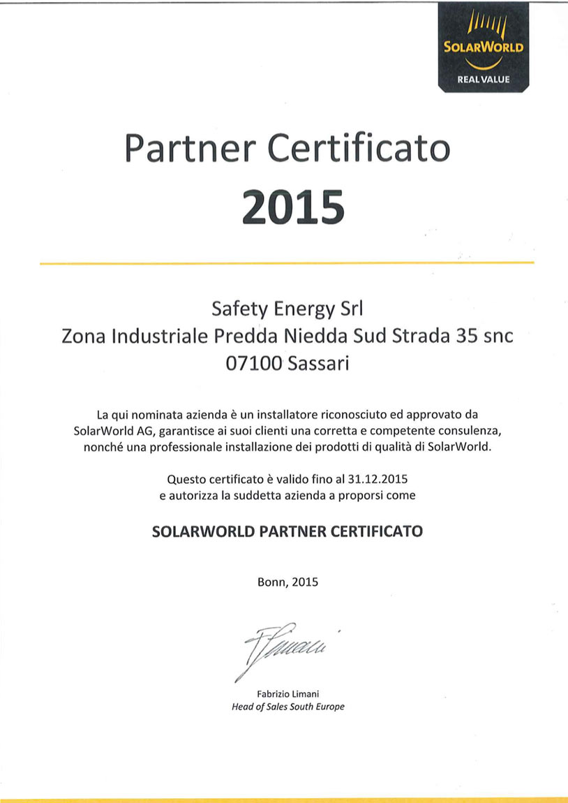 CERTIFICATO SOLAR WEB SAFETY ENERGY